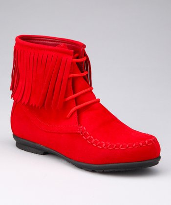 Red Fringy Boot