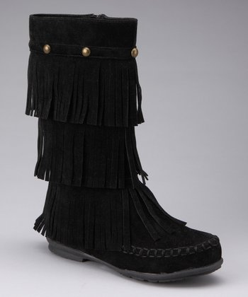 Black Fringy Tall Boot