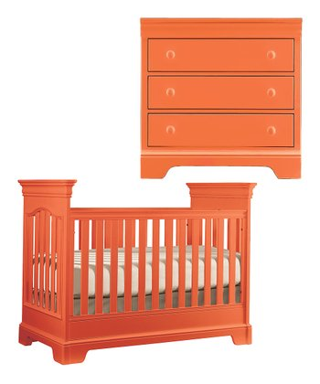 Tangerine Tribute Crib & Small Bunching Chest