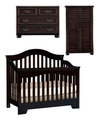 Espresso Built to Grow Bravo Crib, Single Dresser & Armoire Set
