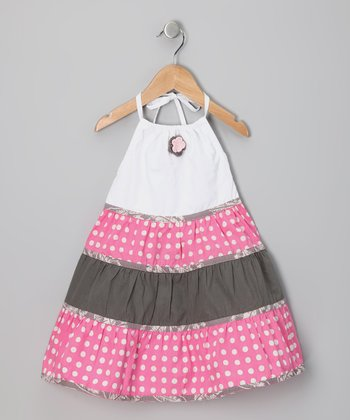 Pink & White Polka Dot Halter Dress - Toddler & Girls