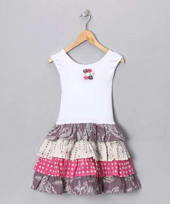 White & Gray Tiered Dress - Girls
