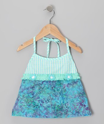 Aqua Gingham Halter Top - Toddler & Girls