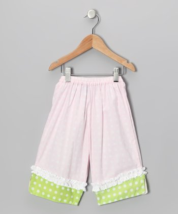 Baby Pink Polka Dot Ruffle Capri Pants - Infant, Toddler & Girls