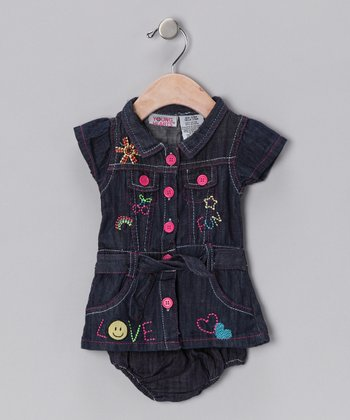 Young Hearts Denim Hearts Dress & Diaper Cover - Infant & Girls