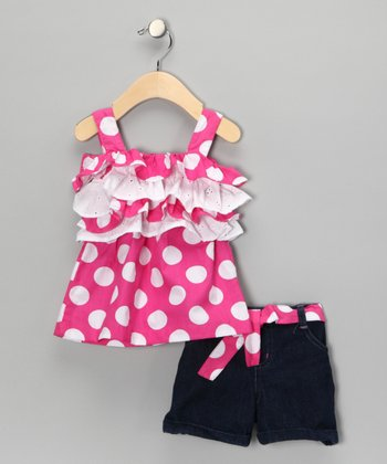 Pink Polka Dot Ruffle Tank & Shorts - Infant