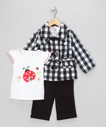 Black Plaid Jacket Set - Toddler & Girls