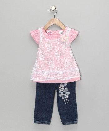 Pink Lace Layered Swing Top & Blue Jeans - Infant & Girls