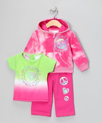 Rose Azalea Zip-Up Hoodie Set - Girls