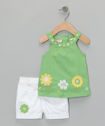 Green & White Daisy Tank & Shorts - Infant