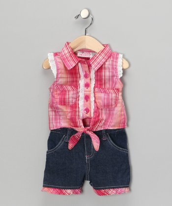 Pink Plaid Tank & Shorts - Infant, Toddler & Girls