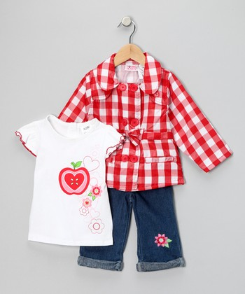 Red Plaid Jacket Set - Toddler