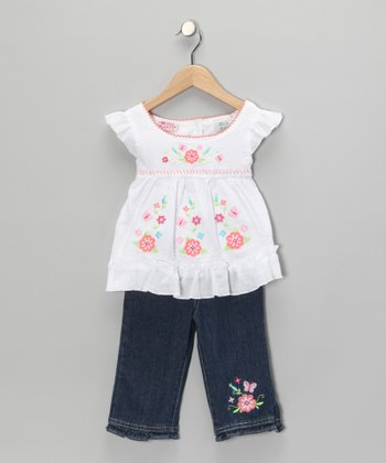 White Flower Angel-Sleeve Top & Jeans - Toddler