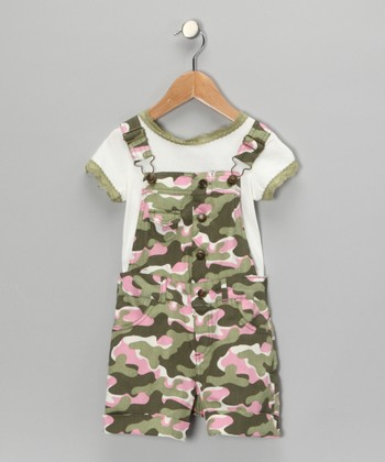 Green Camo Tee & Shortalls - Girls