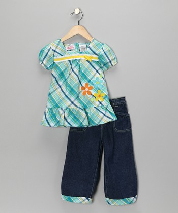 Turquoise Plaid Flower Top & Denim Pants - Girls