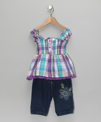 Purple Plaid Shirred Top & Pants - Infant & Girls
