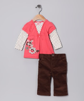 Light Orange Polka Dot Layered Tunic & Corduroy Pants - Infant