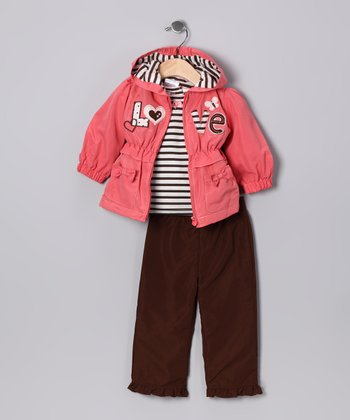 Orange 'Love' Jacket Set - Infant & Toddler