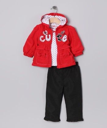 Red 'Cute' Jacket Set - Infant & Toddler