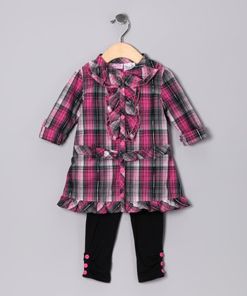 Dark Pink Plaid Button-Up Tunic & Leggings - Toddler