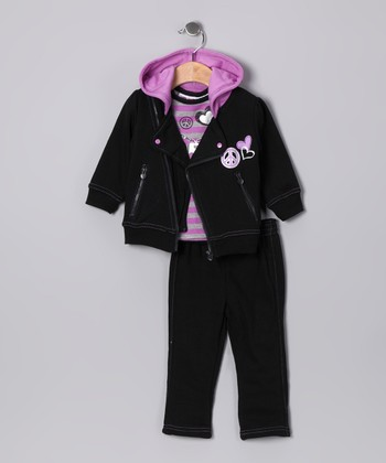 Black Peace Sign Zip-Up Hoodie Set - Infant, Toddler & Girls