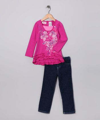 Fuchsia Butterfly Top & Jeans - Infant