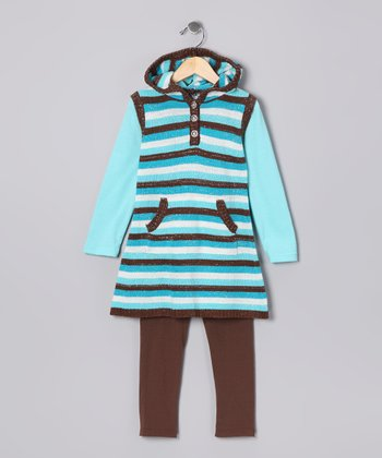Brown & Turquoise Stripe Tunic & Leggings - Girls
