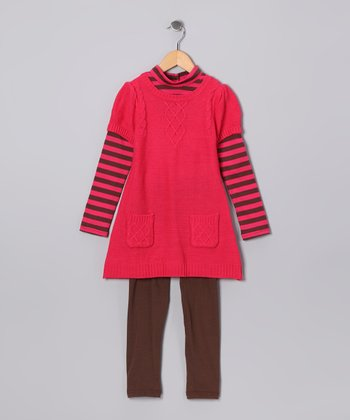 Dark Orange Stripe Tunic & Leggings - Girls