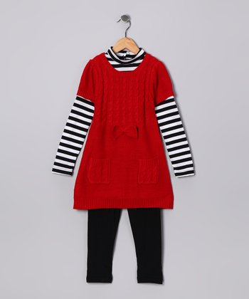 Red Stripe Knit Tunic & Leggings - Girls