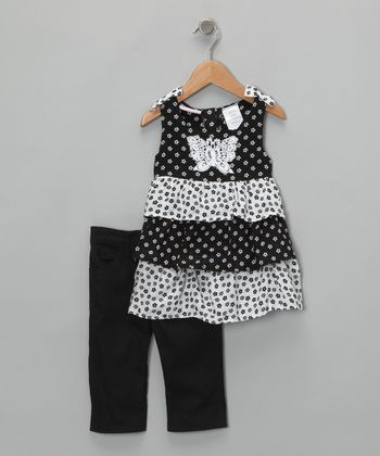 Black Polka Dot Tier Tunic & Pants - Infant
