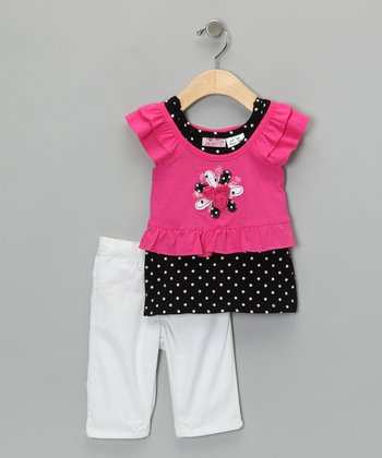 Pink & Black Layered Tunic & Pants - Girls