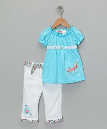Blue Butterfly Peasant Top & Pants - Infant