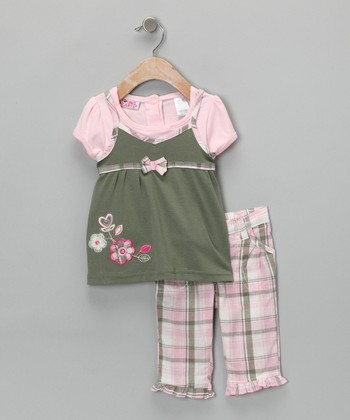 Pink Plaid Flower Top & Pants - Toddler