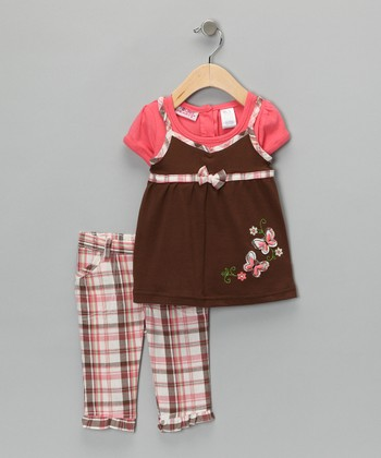 Orange Plaid Butterfly Top & Pants - Toddler & Girls
