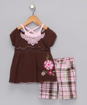 Chocolate & Pink Tunic & Plaid Shorts - Toddler & Girls