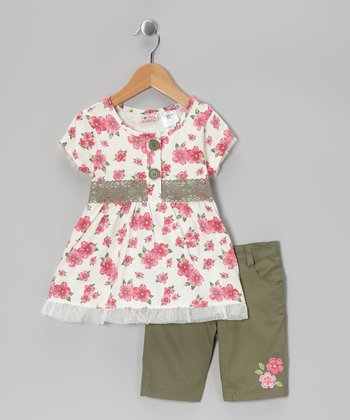 Pink Floral Tunic & Olive Green Shorts - Infant, Toddler & Girls