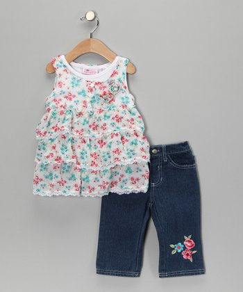White Floral Tunic & Jeans - Toddler
