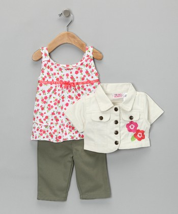 White & Green Flower Jacket Set - Infant, Toddler & Girls