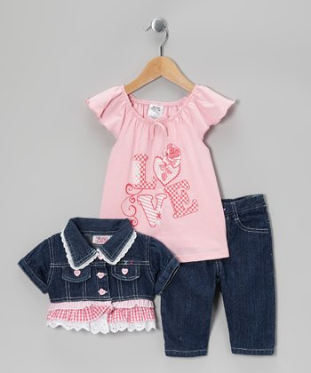 Pink Denim Ruffle Cropped Jacket Set - Toddler