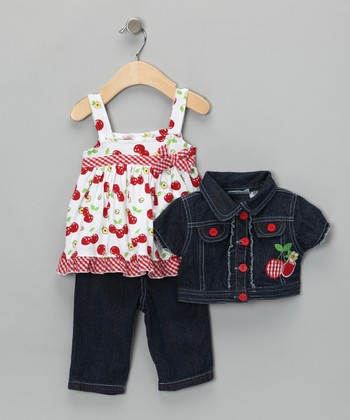 Denim Cherry Jacket Set - Toddler & Girls