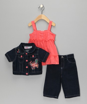 Orange Butterfly Jacket Set - Toddler