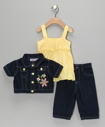 Yellow Flower Jacket Set - Toddler