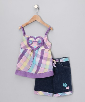 Purple Pastel Plaid Tank & Denim Shorts - Infant, Toddler & Girls