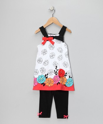 Black & Red Dress & Leggings - Infant, Toddler & Girls