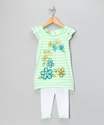 Young Hearts Lime Green Stripe Flower Tunic & Leggings - Infant