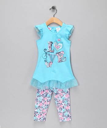 Young Hearts Turquoise 'Love' Ruffle Tunic & Leggings - Infant
