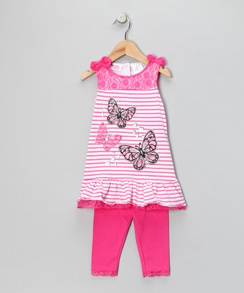 Young Hearts Fuchsia Butterfly Stripe Tunic & Leggings - Infant