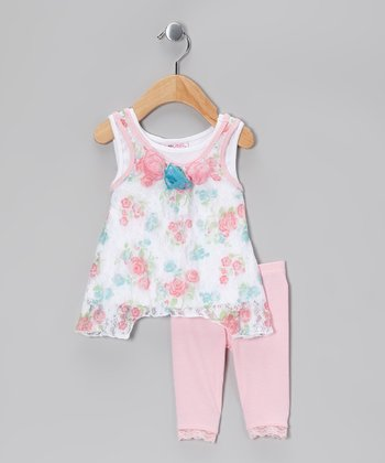 Pink Floral Lace Sidetail Tunic & Leggings - Infant