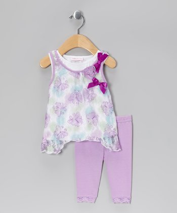 Purple Butterfly Lace Sidetail Dress & Leggings - Infant