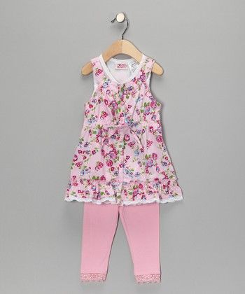 Pink Flower Lace Tunic & Leggings - Infant